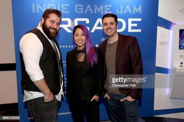 Matt Raub Mari 'Atomic Mari' Takahashi Joshua 'The Jovenshire' Ovenshire of Smosh Games attend the 'Indie Game Jam Arcade Presented by Schick Hydro'...