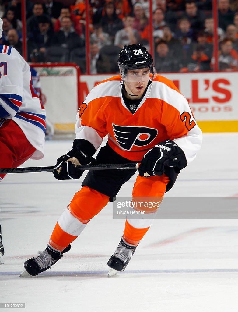 Matt Read #24 of the Philadelphia Flyers skates against the New York Rangers at the Wells Fargo Center on March 26, 2013 in Philadelphia, Pennsylvania.