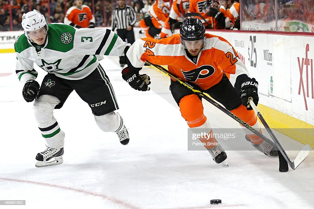Matt Read #24 of the Philadelphia Flyers skates past John Klingberg #3 of the Dallas Stars at Wells Fargo Center on March 10, 2015 in Philadelphia, Pennsylvania. The Dallas Stars won, 2-1.