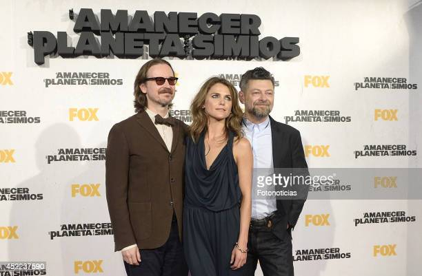 Matt Reeves Keri Russell and Andy Serkis attend the 'Dawn of the Planet of the Apes' premiere at Capitol Cinema on July 16 2014 in Madrid Spain