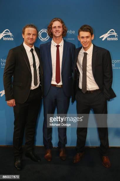 Matt Reid Blake Ellis and Alex De Minaur pose arrives at the 2017 Newcombe Medal at Crown Palladium on November 27 2017 in Melbourne Australia