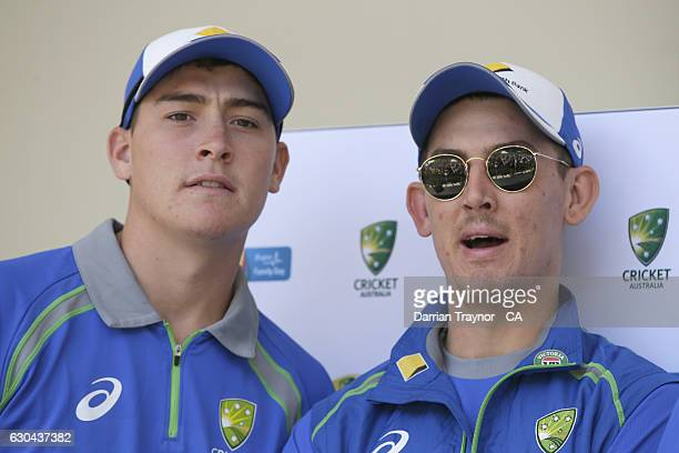 Matt Renshaw and Nic Maddinson look on during Family Day At The 'G' at Melbourne Cricket Ground on December 23 2016 in Melbourne Australia