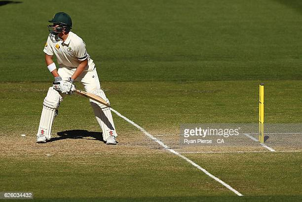Matt Renshaw of Australia bats out of his crease during day four of the Third Test match between Australia and South Africa at Adelaide Oval on...