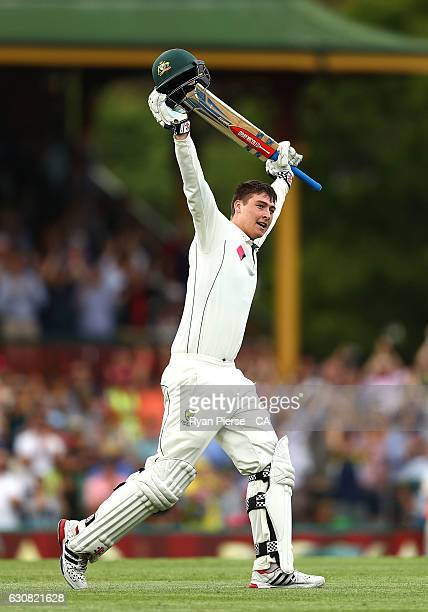 Matt Renshaw of Australia celebrates after reaching his century during day one of the Third Test match between Australia and Pakistan at Sydney...