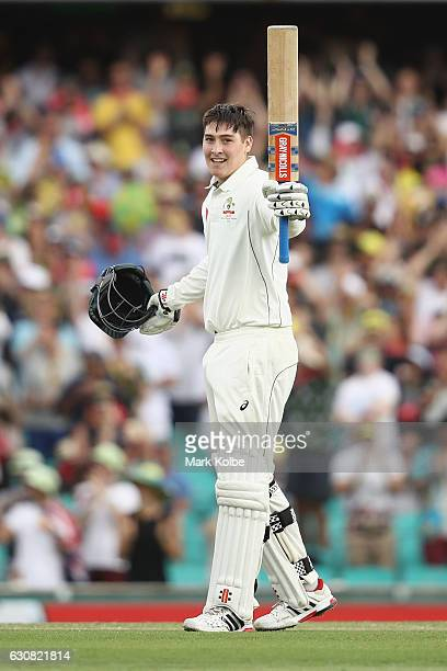 Matt Renshaw of Australia celebrates his century during day one of the Third Test match between Australia and Pakistan at Sydney Cricket Ground on...