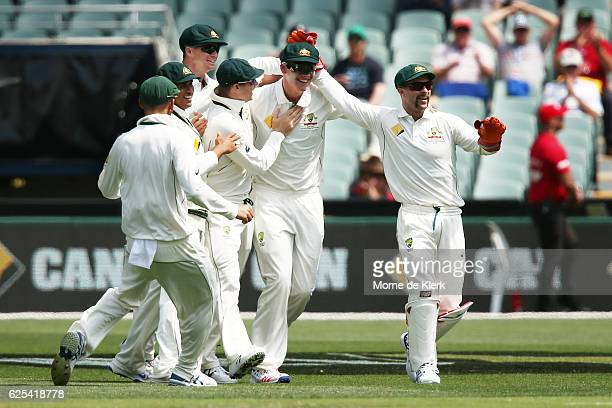 Matt Renshaw of Australia is congratulated by teammates after he took a catch in the slips to dismiss Hashim Amla of South Africa during day one of...