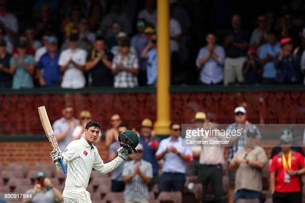 Matt Renshaw of Australia leaves the field after being dismissed by Imran Khan of Pakistan during day two of the Third Test match between Australia...