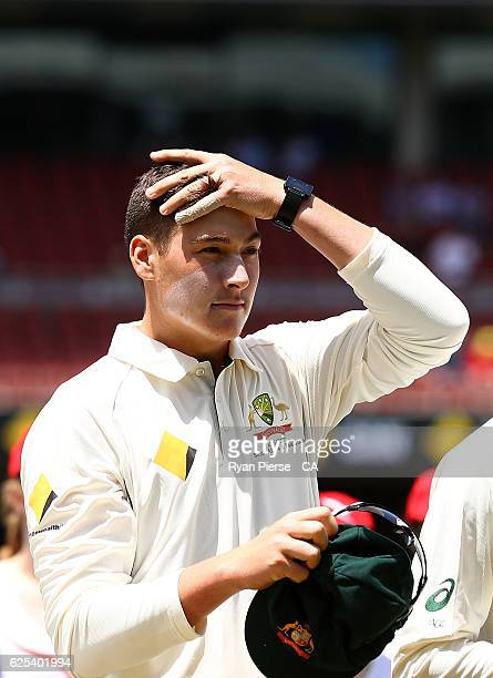 Matt Renshaw of Australia looks on during the national anthems during day one of the Third Test match between Australia and South Africa at Adelaide...