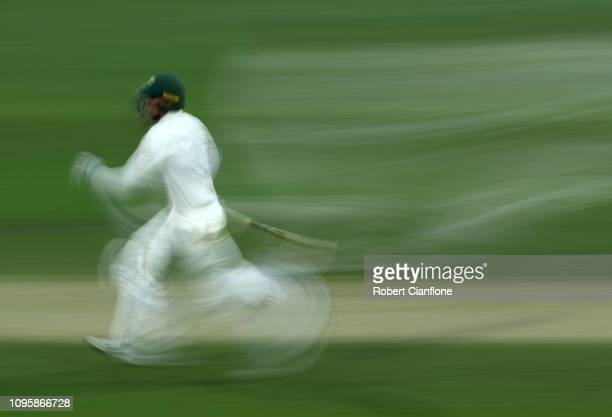 Matt Renshaw of Australia makes runs during day two of the three day International Tour match between the Cricket Australia XI and Sri Lanka at...