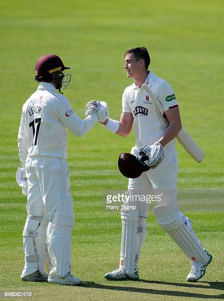 Matt Renshaw of Somerset celebrates his century during Day One of the Specsavers County Championship Division One match between Somerset and...