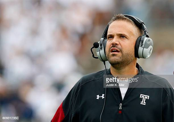 Matt Rhule of the Temple Owls in action during the game against the Penn State Nittany Lions on September 17 2016 at Beaver Stadium in State College...