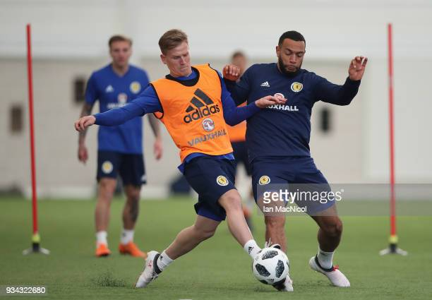 Matt Ritchie and Matt Phillips take part in a training session prior to the international friendly match between Scotland and Costa Rica at Orium...