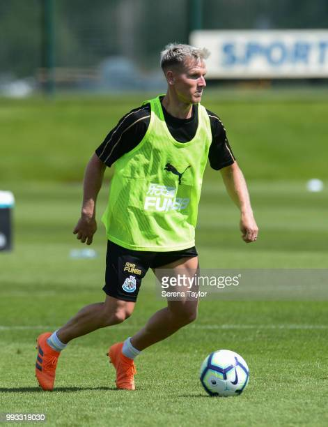 Matt Ritchie controls the ball during the Newcastle United Training Session at the Newcastle United Training Centre on July 7 in Newcastle upon Tyne...