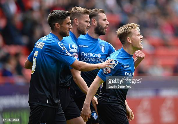 Matt Ritchie of AFC Bournemouth celebrates scoring the 1st Bournemouth goal during the Sky Bet Championship match between Charlton Athletic and AFC...