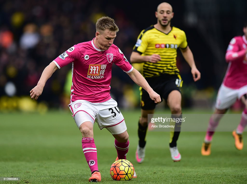 Matt Ritchie of A.F.C Bournemouth in action during the Barclays Premier League match between Watford and A.F.C Bournemouth at Vicarage Road on February 27, 2016 in Watford, England.
