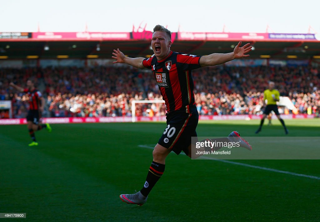 Matt Ritchie of Bournemouth celebrates scoring his team's first goal during the Barclays Premier League match between A.F.C. Bournemouth and Tottenham Hotspur at Vitality Stadium on October 25, 2015 in Bournemouth, England.