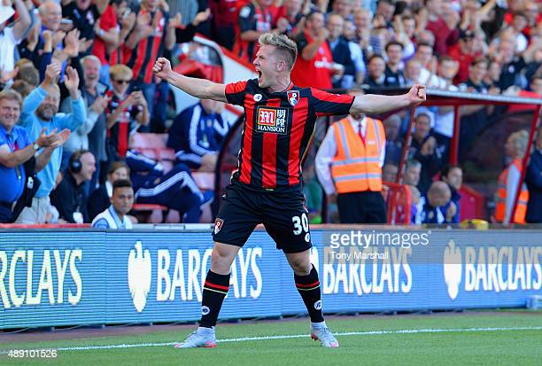 Matt Ritchie of Bournemouth celebrates scoring his team's second goal during the Barclays Premier League match between A.F.C. Bournemouth and...