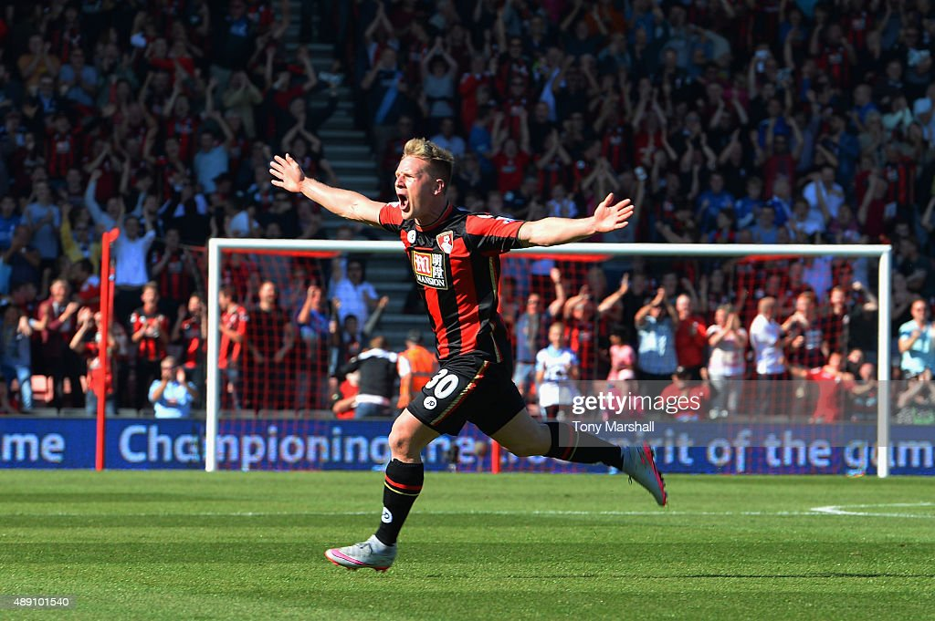 Matt Ritchie of Bournemouth celebrates scoring his team's second goal during the Barclays Premier League match between A.F.C. Bournemouth and Sunderland at Vitality Stadium on September 19, 2015 in Bournemouth, United Kingdom.