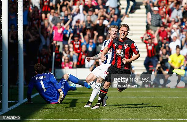 Matt Ritchie of Bournemouth celebrates scoring their first goal during the Barclays Premier League match between AFC Bournemouth and West Bromwich...