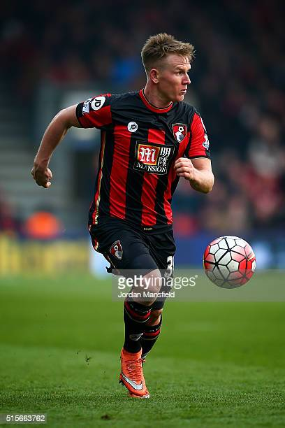 Matt Ritchie of Bournemouth in action during the Barclays Premier League match between AFC Bournemouth and Swansea City at Vitality Stadium on March...