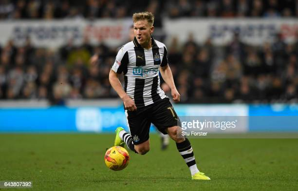 Matt Ritchie of Newcastle in action during the Sky Bet Championship match between Newcastle United and Aston Villa at St James' Park on February 20...