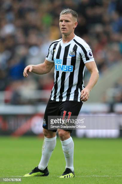 Matt Ritchie of Newcastle looks on during the Premier League match between Newcastle United and Chelsea at St James' Park on August 26 2018 in...
