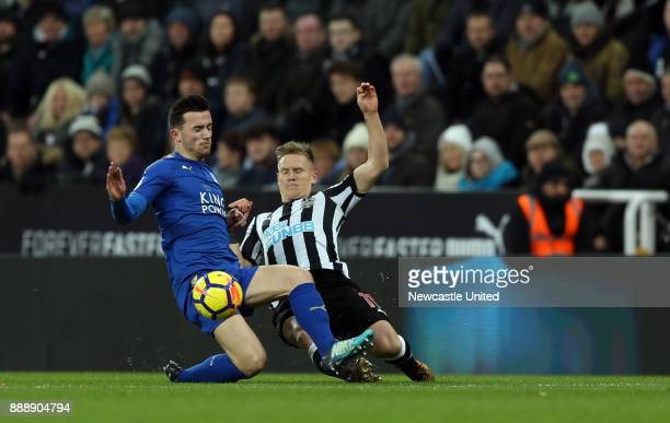 Matt Ritchie of Newcastle United and Ben Chilwell of Leicester City during the Premier League match between Newcastle United and Leicester City at...