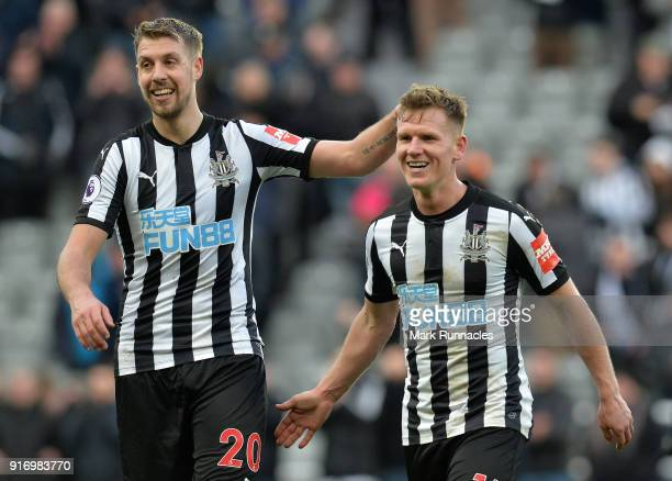 Matt Ritchie of Newcastle United and Florian Lejeune of Newcastle united at the final whistle during the Premier League match between Newcastle...