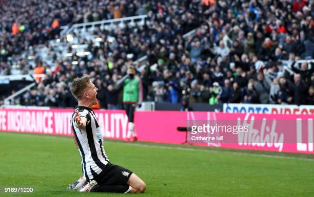 Matt Ritchie of Newcastle United celebrates after he scores his sides first goal during the Premier League match between Newcastle United and...