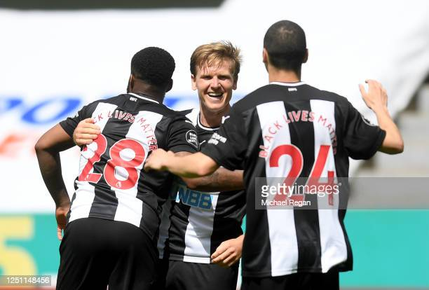Matt Ritchie of Newcastle United celebrates after he scores his team's second goal during the Premier League match between Newcastle United and...