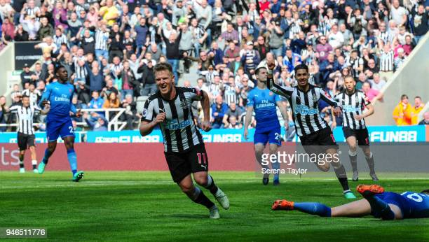 Matt Ritchie of Newcastle United celebrates after he scores Newcastle's second goal during the Premier League match between Newcastle United and...