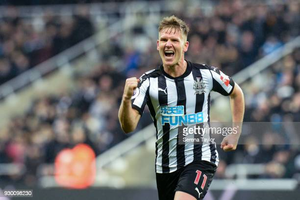 Matt Ritchie of Newcastle United celebrates after he scores Newcastle's third goal during the Premier League match between Newcastle United and...