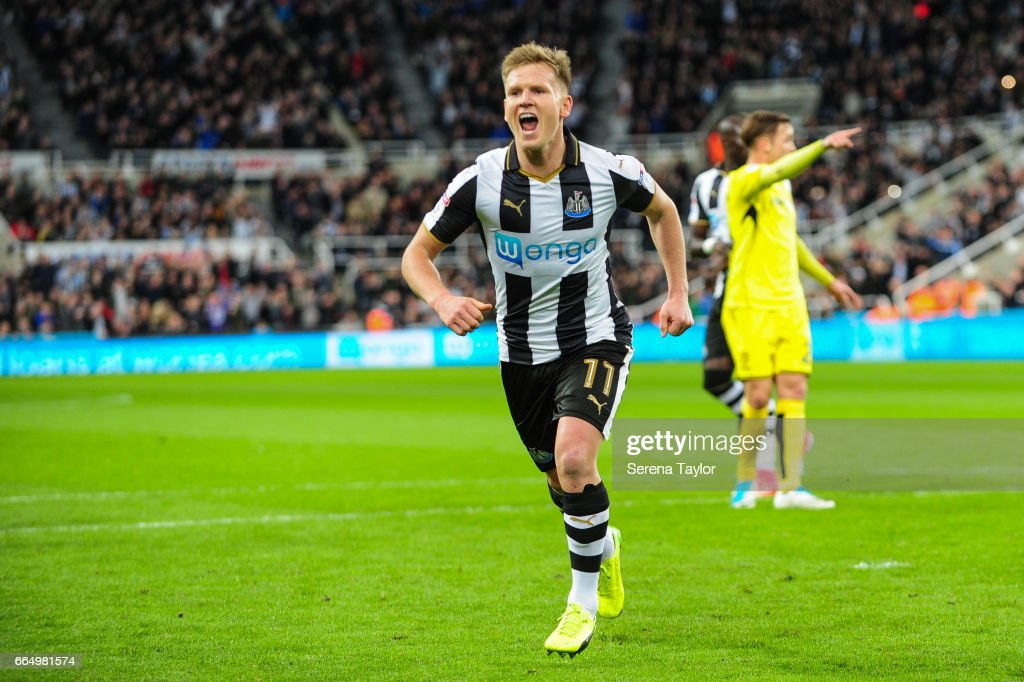 Matt Ritchie of Newcastle United (11) celebrates after scoring a penalty which is then disallowed during the Sky Bet Championship Match between Newcastle United and Burton Albion at St.James' Park on April 5, 2017 in Newcastle upon Tyne, England.