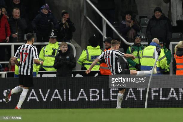 .Matt Ritchie of Newcastle United celebrates after scoring from the penalty spot during the Premier League match between Newcastle United and...