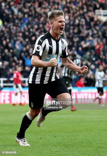 Matt Ritchie of Newcastle United celebrates after scoring his sides first goal during the Premier League match between Newcastle United and...