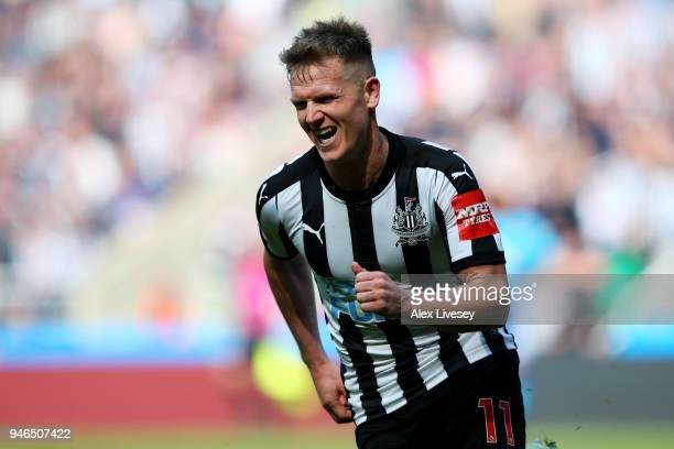Matt Ritchie of Newcastle United celebrates after scoring his sides second goal during the Premier League match between Newcastle United and Arsenal...