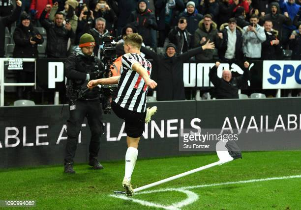 Matt Ritchie of Newcastle United celebrates after scoring his team's second goal during the Premier League match between Newcastle United and...
