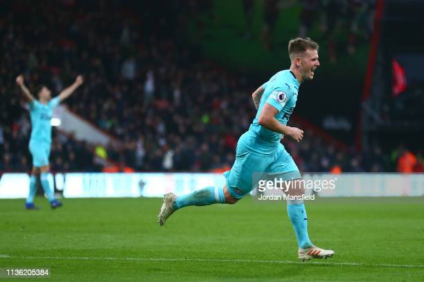 Matt Ritchie of Newcastle United celebrates after scoring his team's second goal during the Premier League match between AFC Bournemouth and...