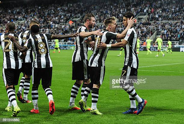 Matt Ritchie of Newcastle United celebrates after scoring Newcastle's second goal from a penalty during the Sky Bet Championship match between...