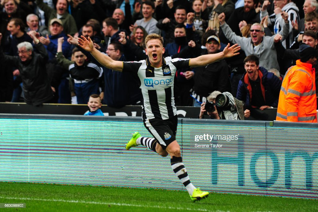 Matt Ritchie of Newcastle United (11) celebrates after scoring Newcastle's second goal during the Sky Bet Championship match between Newcastle United and Wigan Athletic at St.James' Park on April 1, 2017 in Newcastle upon Tyne, England.