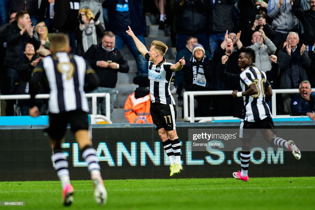 Matt Ritchie of Newcastle United (11) celebrates after scoring the opening goal during the Sky Bet Championship Match between Newcastle United and Burton Albion at St.James' Park on April 5, 2017 in Newcastle upon Tyne, England.