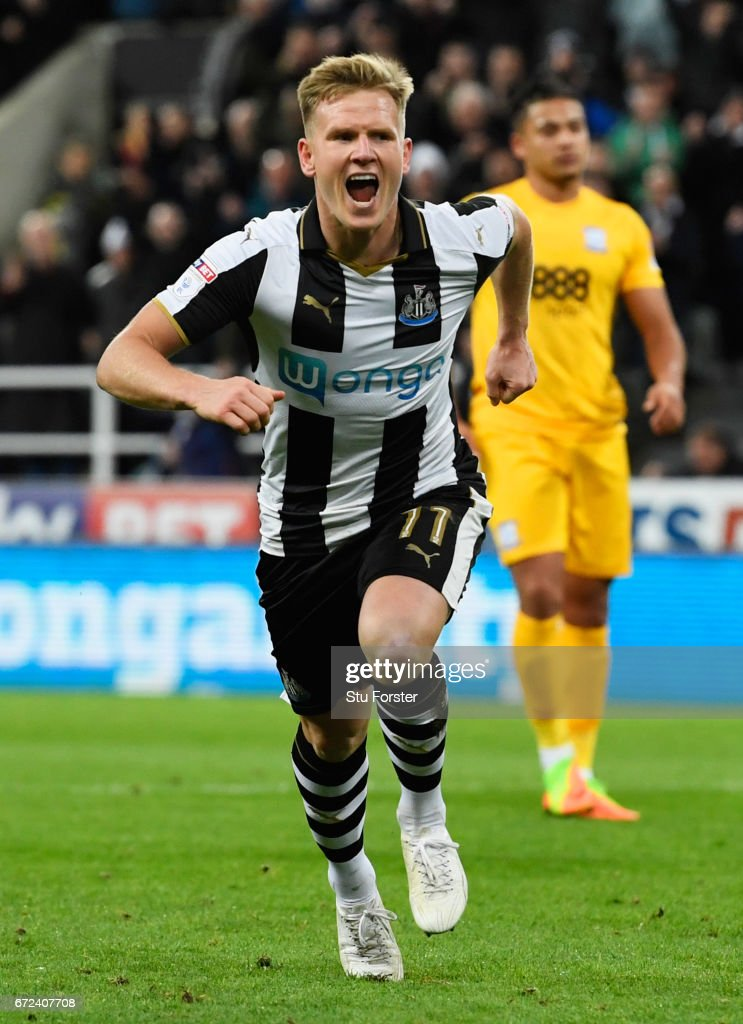 Matt Ritchie of Newcastle United celebrates as he scores their third goal from a penalty during the Sky Bet Championship match between Newcastle United and Preston North End at St James' Park on April 24, 2017 in Newcastle upon Tyne, England.