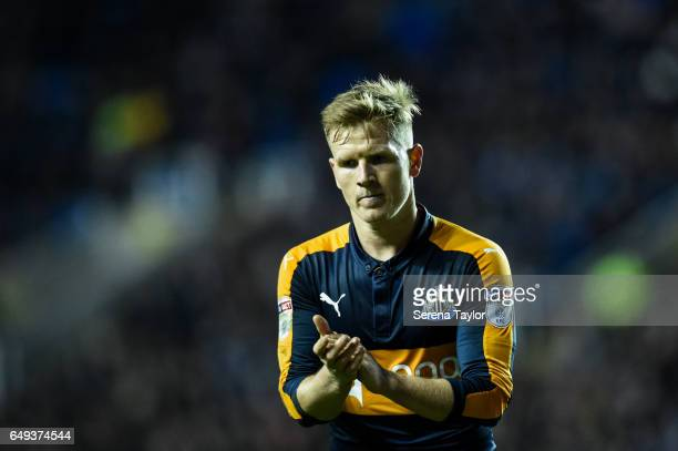 Matt Ritchie of Newcastle United claps the fans during the Sky Bet Championship Match between Reading and Newcastle United at the Madjeski Stadium on...