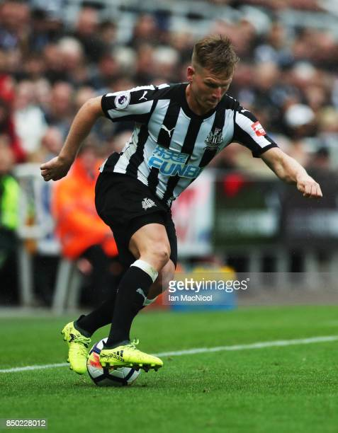 Matt Ritchie of Newcastle United controls the ball during the Premier League match between Newcastle United and Stoke City at St James Park on...