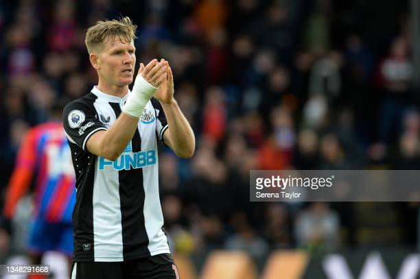 Matt Ritchie of Newcastle United FC claps the fans during the Premier League match between Crystal Palace and Newcastle United at Selhurst Park on...