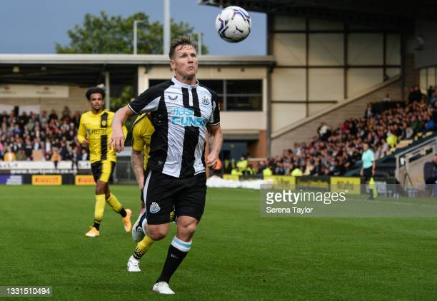 Matt Ritchie of Newcastle United FC looks to control the ball during the Pre Season Friendly between Burton Albion and Newcastle United at the...
