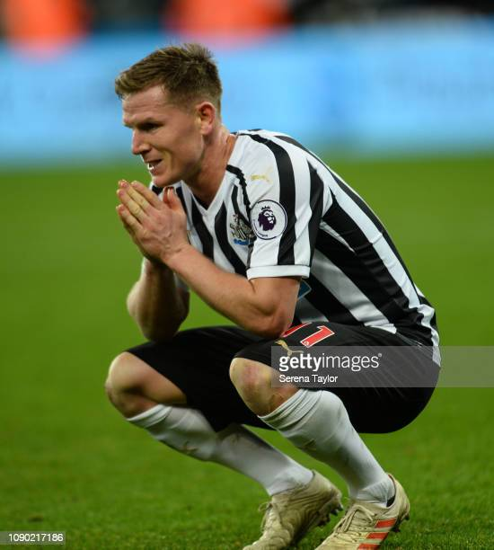 Matt Ritchie of Newcastle United reflects after drawing the FA Cup Third Round match between Newcastle United and Blackburn Rovers at St James Park...
