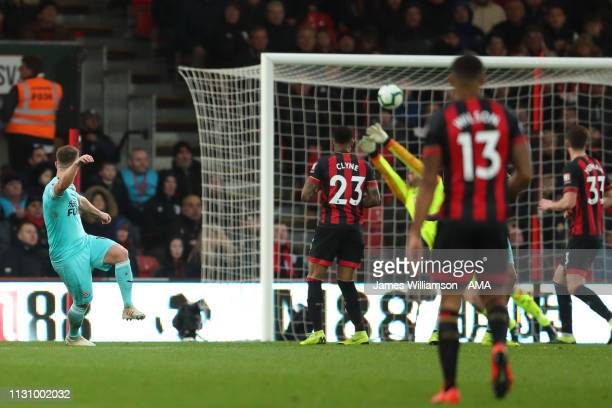 Matt Ritchie of Newcastle United scores a goal to make it 22 during the Premier League match between AFC Bournemouth and Newcastle United at Vitality...