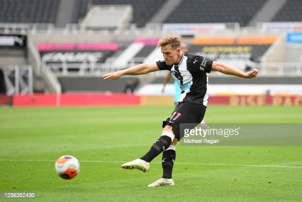 Matt Ritchie of Newcastle United scores his team's first goal during the Premier League match between Newcastle United and Tottenham Hotspur at St....