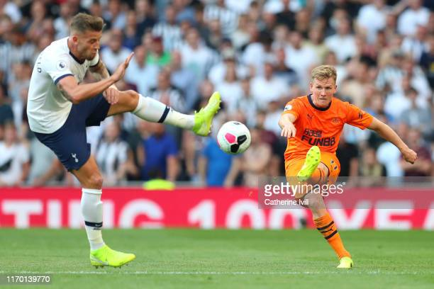 Matt Ritchie of Newcastle United us blocked by Toby Alderweireld of Tottenham Hotspur during the Premier League match between Tottenham Hotspur and...